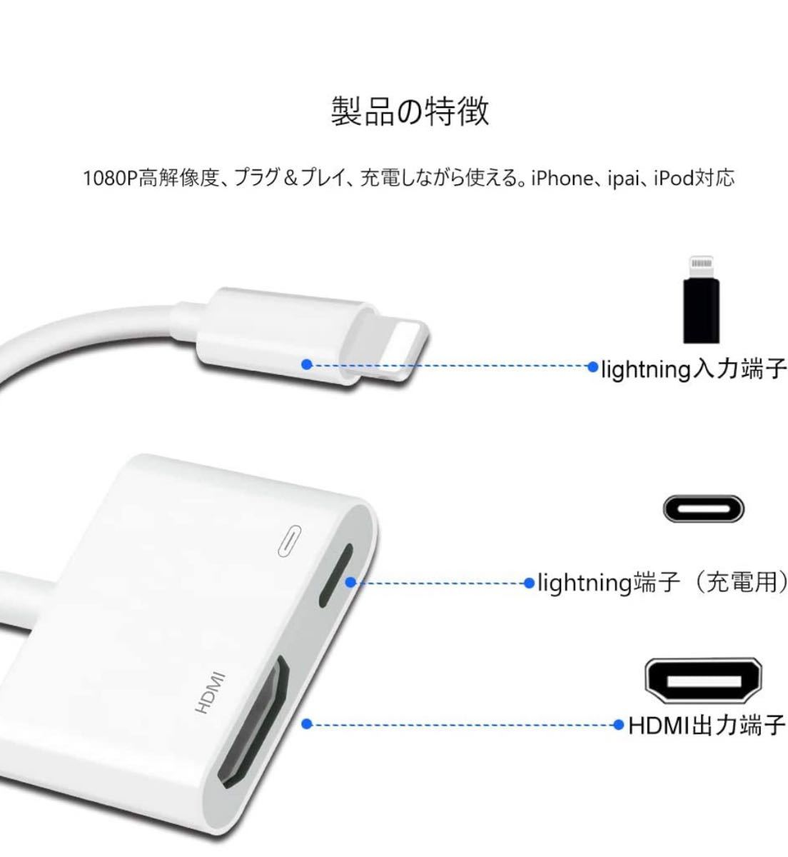 HDMI変換ケーブル HDMI変換アダプタ iPhone iPad
