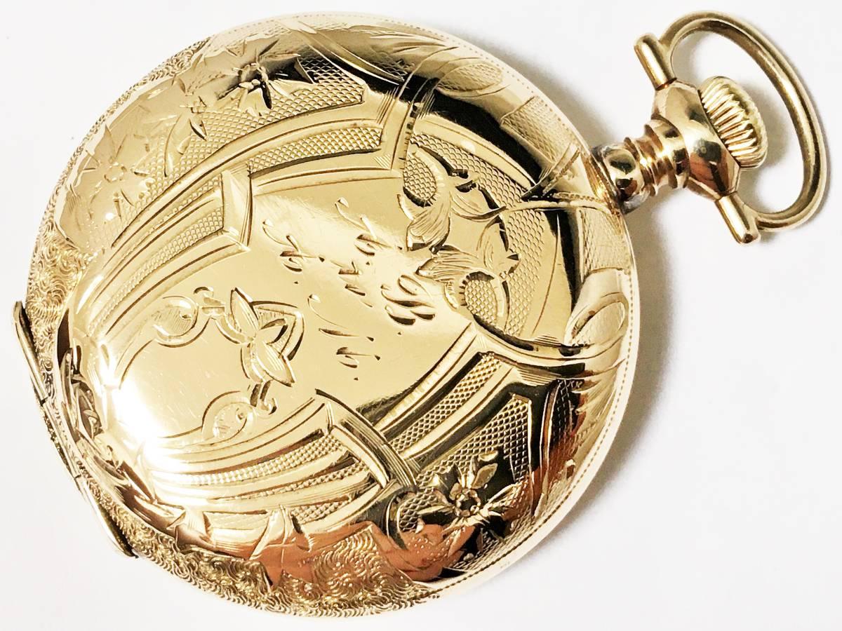1904年製◆WALTHAM シーサイド ダイヤ付き美彫金フルハンター 0S 15石 Gr,Seaside ウォルサム懐中時計◆美品