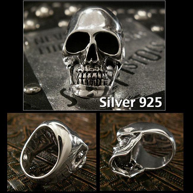 19号 スカルシルバーリング メンズ シルバー925 リング 指輪 シルバーアクセサリードクロ 髑髏 大きい_19号をお送りします