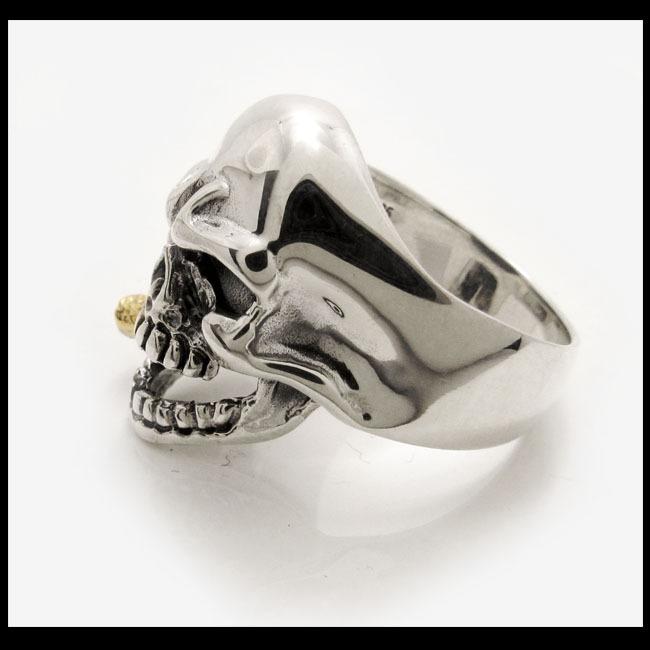 27号 スカルリング メンズ ドクロ 髑髏 指輪 シルバーリング アメカジ系シルバーアクセサリー ハード系 ハードロックファッション_27号をお送りします