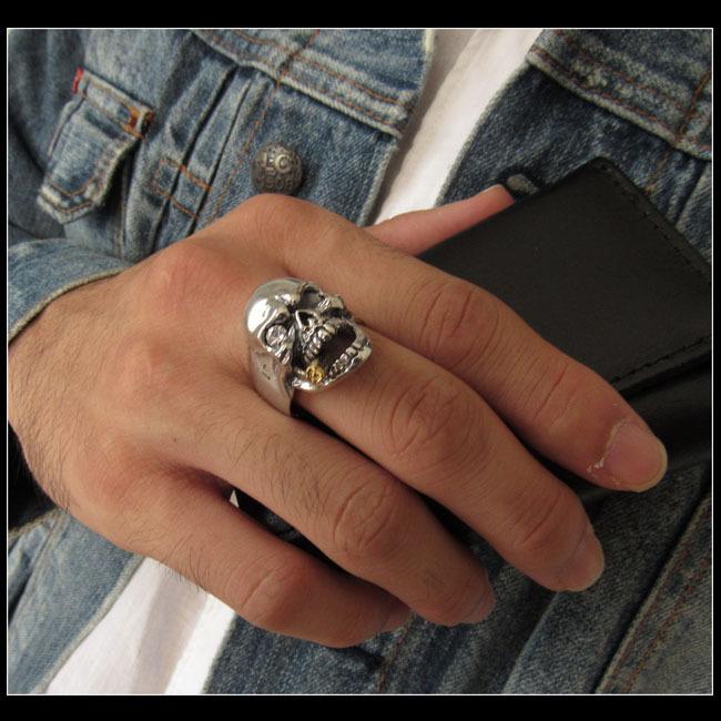 27号 スカルリング メンズ ドクロ 髑髏 指輪 シルバーリング アメカジ系シルバーアクセサリー ハード系 ハードロックファッション_イメージ画像/27号をお送りします