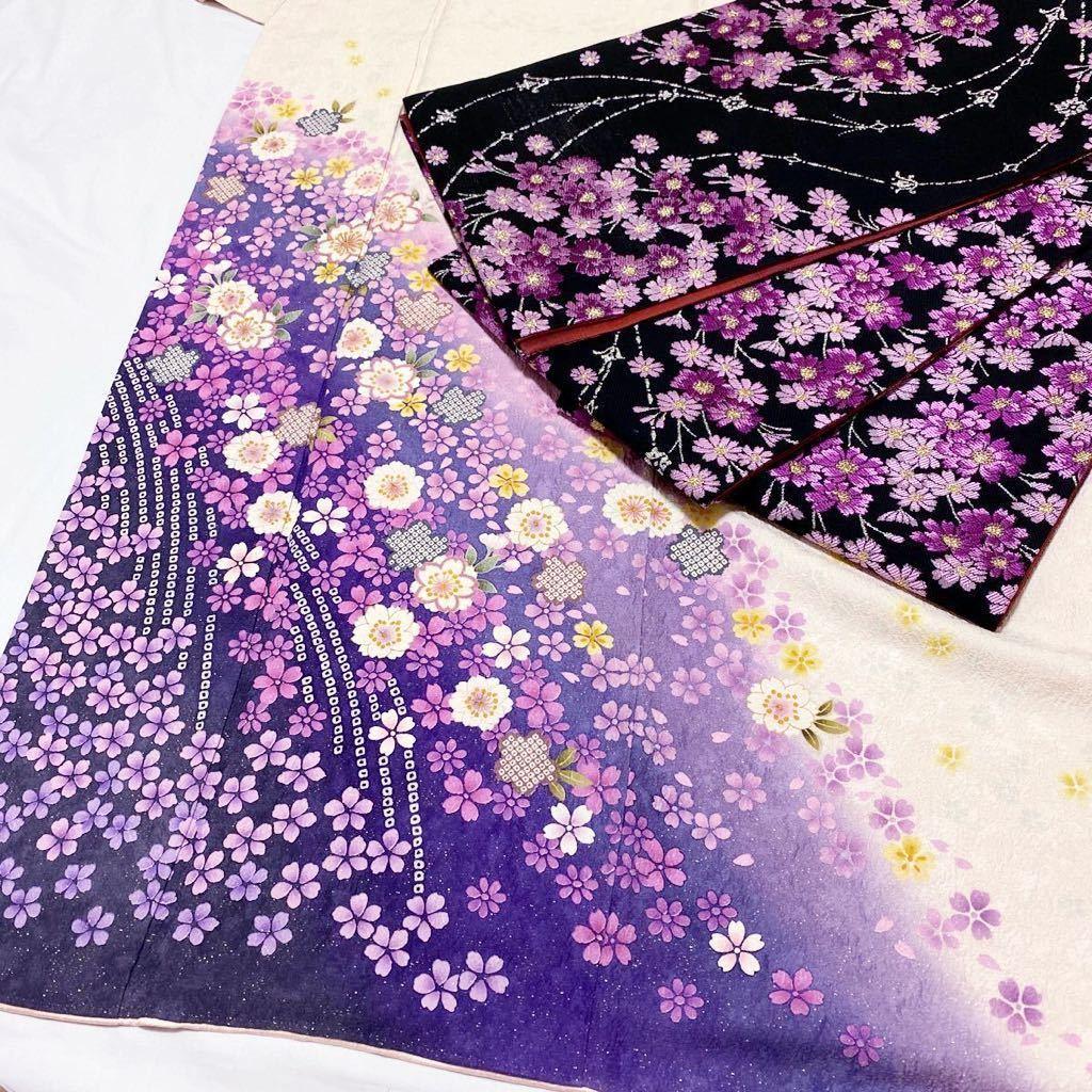 着物月花 絞り 金通し 可憐な花尽くしの振袖 袋帯 襦袢 帯締め 帯揚げ 五点セット 正絹 金銀糸