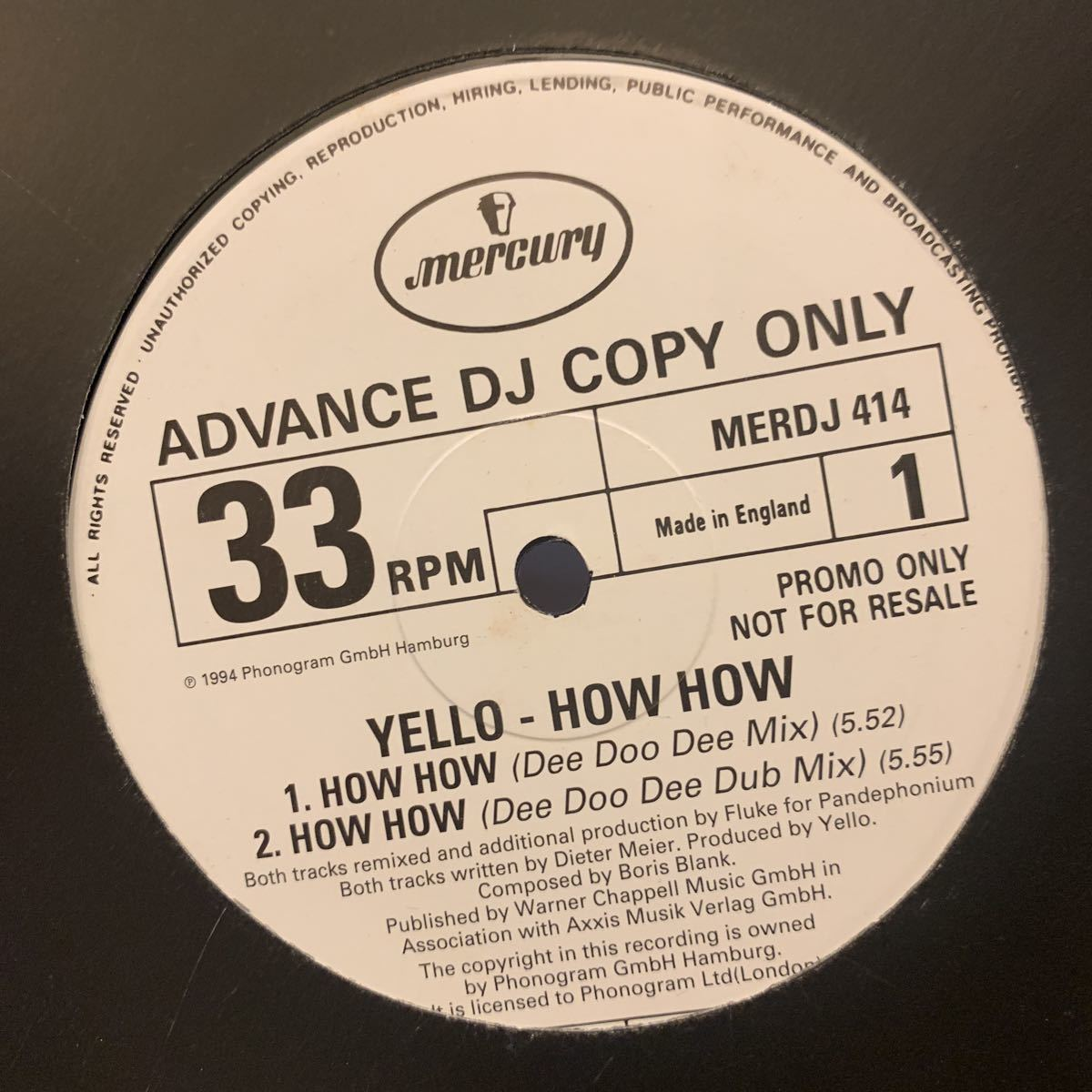 YELLO /HOW HOW 中古レコード プロモ盤_画像2