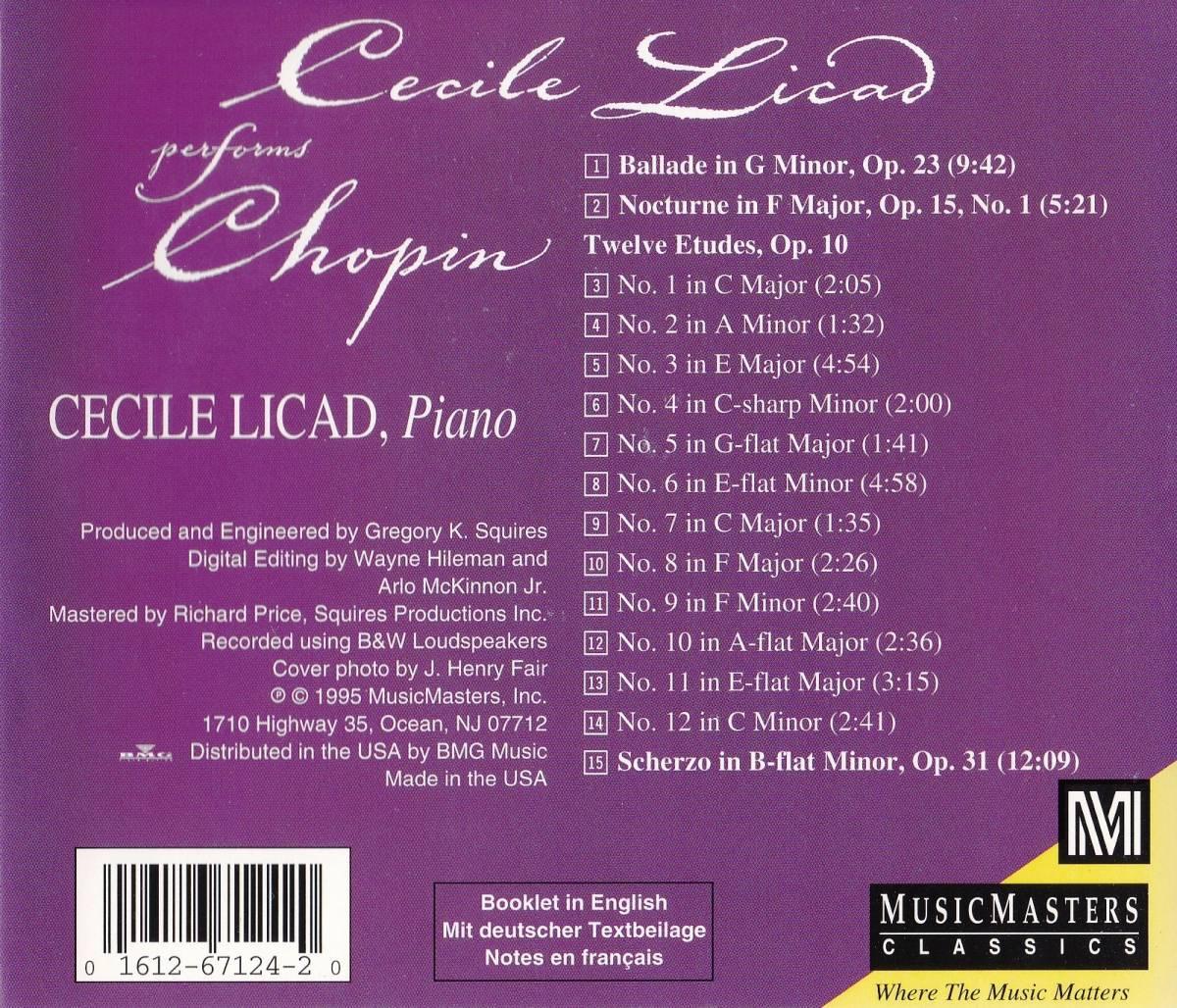 廃盤超希少 MUSIC MASTERS 初期盤 セシル・リカド ショパン ピアノ 作品集_画像2