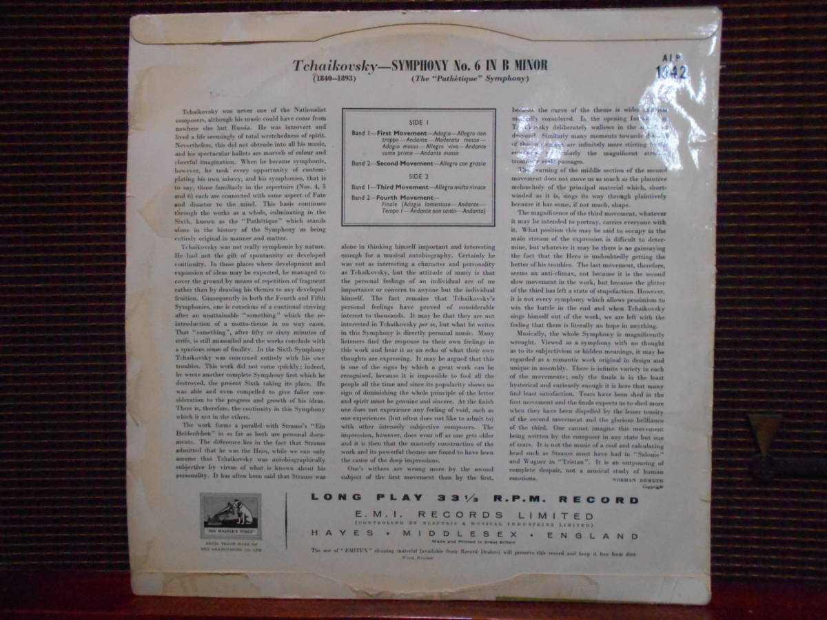 英HMV(EMI)初期盤 G.カンテッリ(カンテルリ)指揮 フィルハーモニア管弦楽団 チャイコフスキー/交響曲6番「悲愴」_画像2