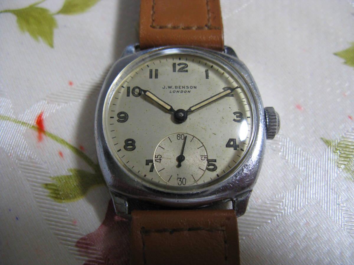 1940年代 J.W.BENSON J.W.ベンソン デ二ソン製クッションケース ロンドン宝飾品店ブランド 英国アンティーク腕時計 稼働品 OH済み