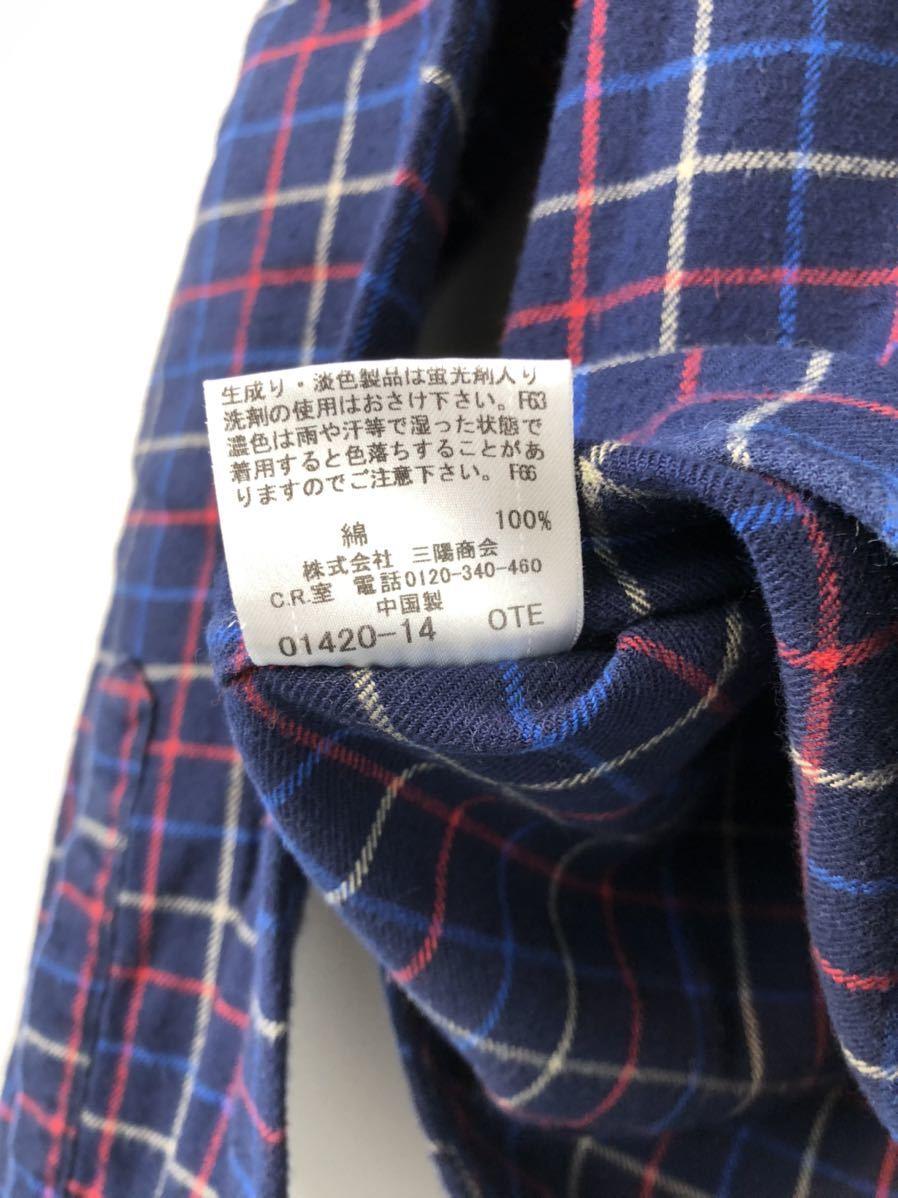 BURBERRY BLACK LABEL バーバリーブラックレーベル ホース刺繍 チェック ネルシャツ 3 ネイビー