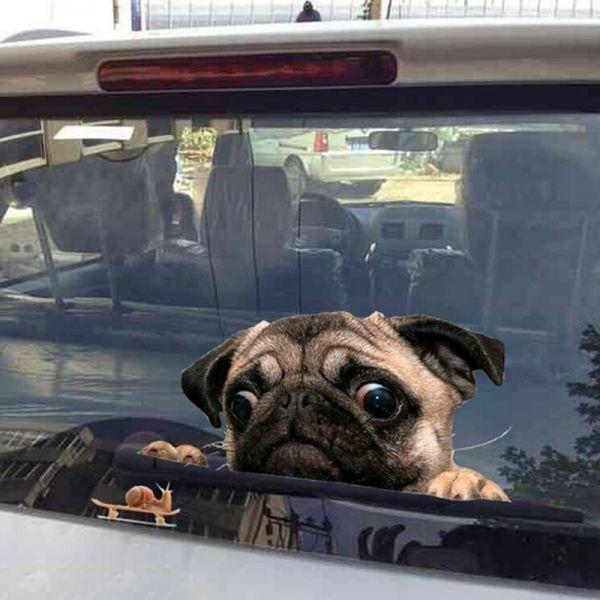 《特価☆1円~》3D パグ 犬 時計 車 窓 デカール かわいい ペット 子犬 ステッカー デコレーション 壁 装飾 おもしろい_画像1