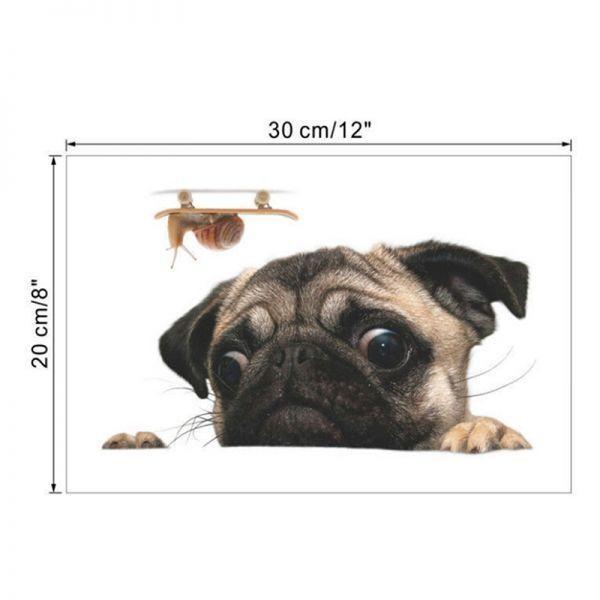 《特価☆1円~》3D パグ 犬 時計 車 窓 デカール かわいい ペット 子犬 ステッカー デコレーション 壁 装飾 おもしろい_画像6