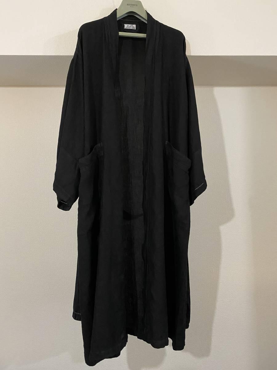 HERMES エルメス Hermes リネン 麻 ガウン コート 着物 キモノ KIMONO ベルト コート ショールカラー