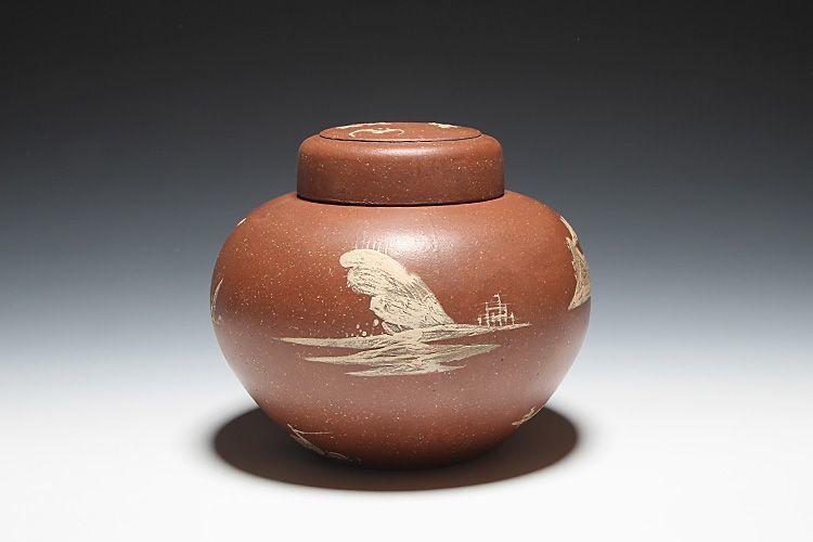 泥絵紫砂茶叶罐