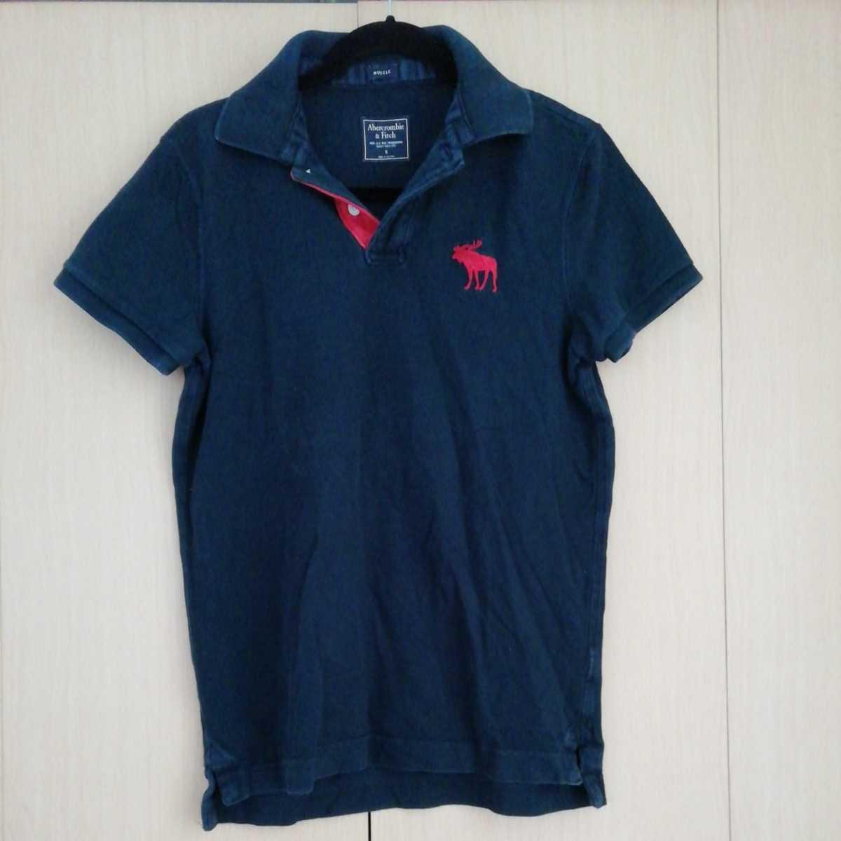 アバクロンビー&フィッチ 半袖ポロシャツ S ネイビー