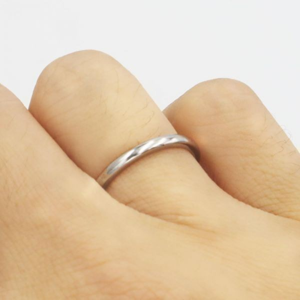 指輪 メンズ リング 2mm タングステン ニッケルフリー 金属アレルギー対応 シルバー マリッジ ピンキーリング【21号】_画像7