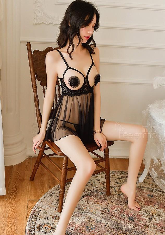 超セクシー過激 魅せる ランジェリー シースルーベビードール オープンバスト 透け透けキャミソール コスプレ衣装 ブラック F303_画像5