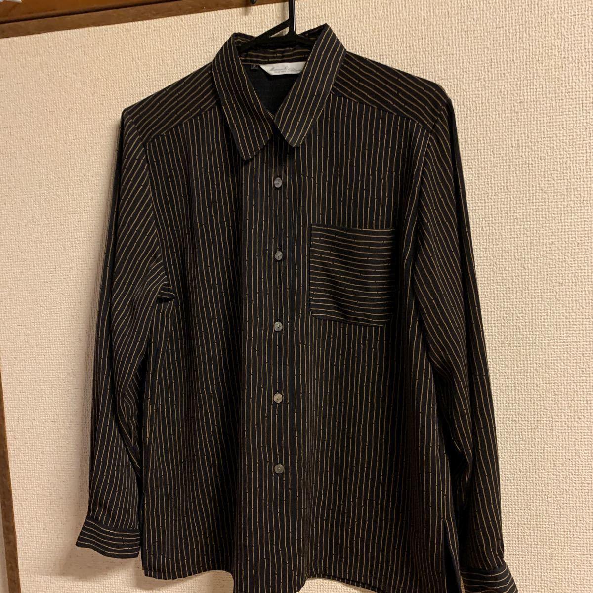 長袖 ストライプシャツ