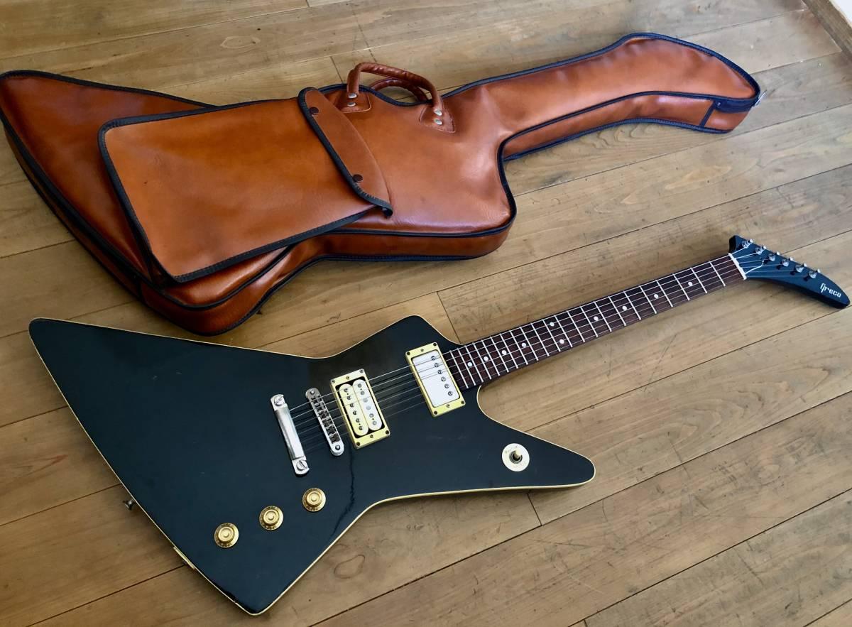 名器 GRECO グレコ EX800HB エクスプローラー/日本製 1970年代製 U-2000搭載 セン単板ボディ ローズ指板/専用合皮ギグケース付 (検 Gibson)