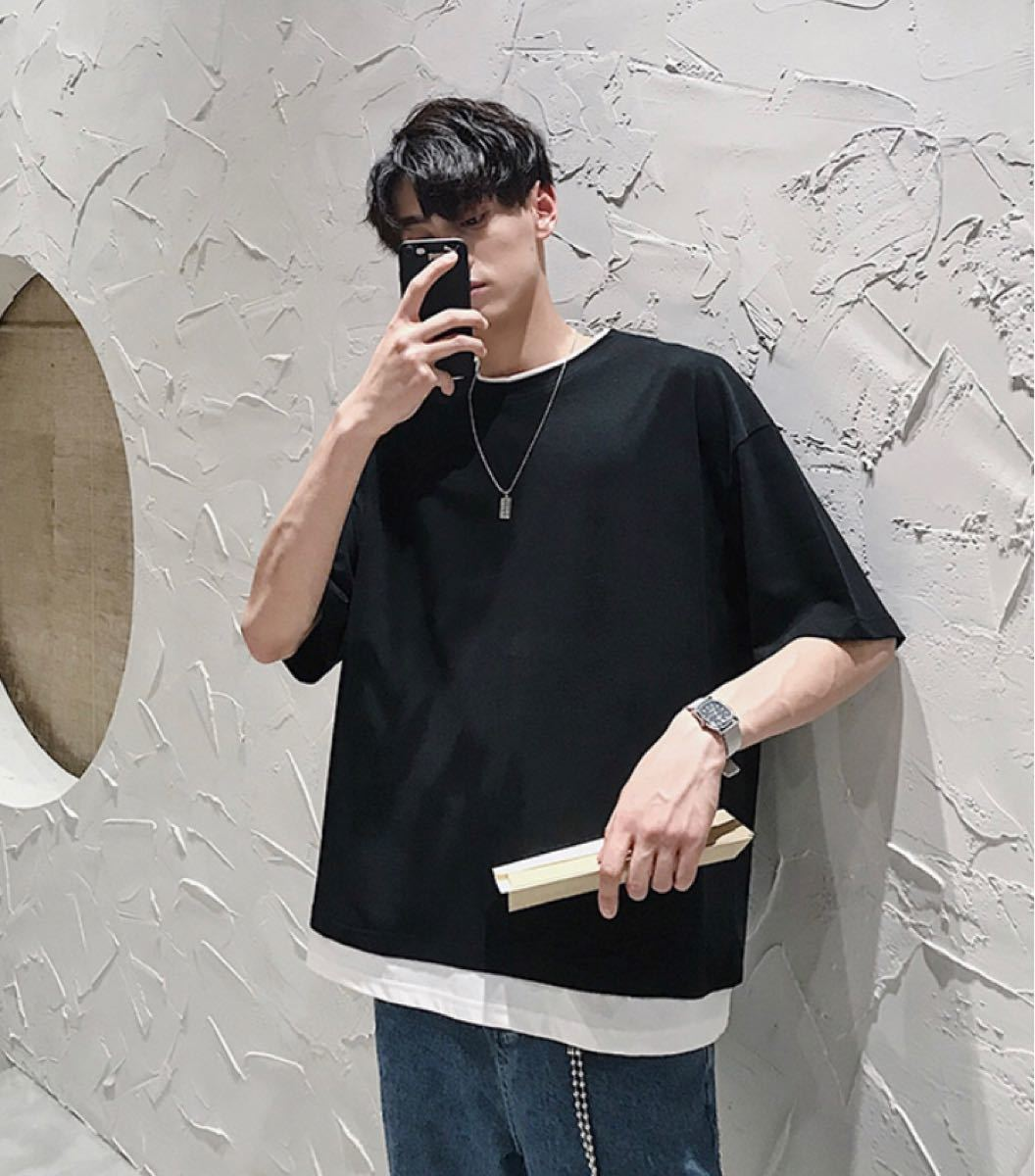 メンズ Tシャツ ストリート オルチャン シンプル 無地 韓国 半袖 L 新品