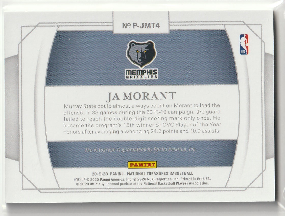 2019-20 PANINI NATIONAL TREASURES Ja Morant PERSONALIZED ROOKIE AUTO INSCRIPTIONS 直筆サインカード #1/1 RC 1of1 GRIZZLIES_画像2