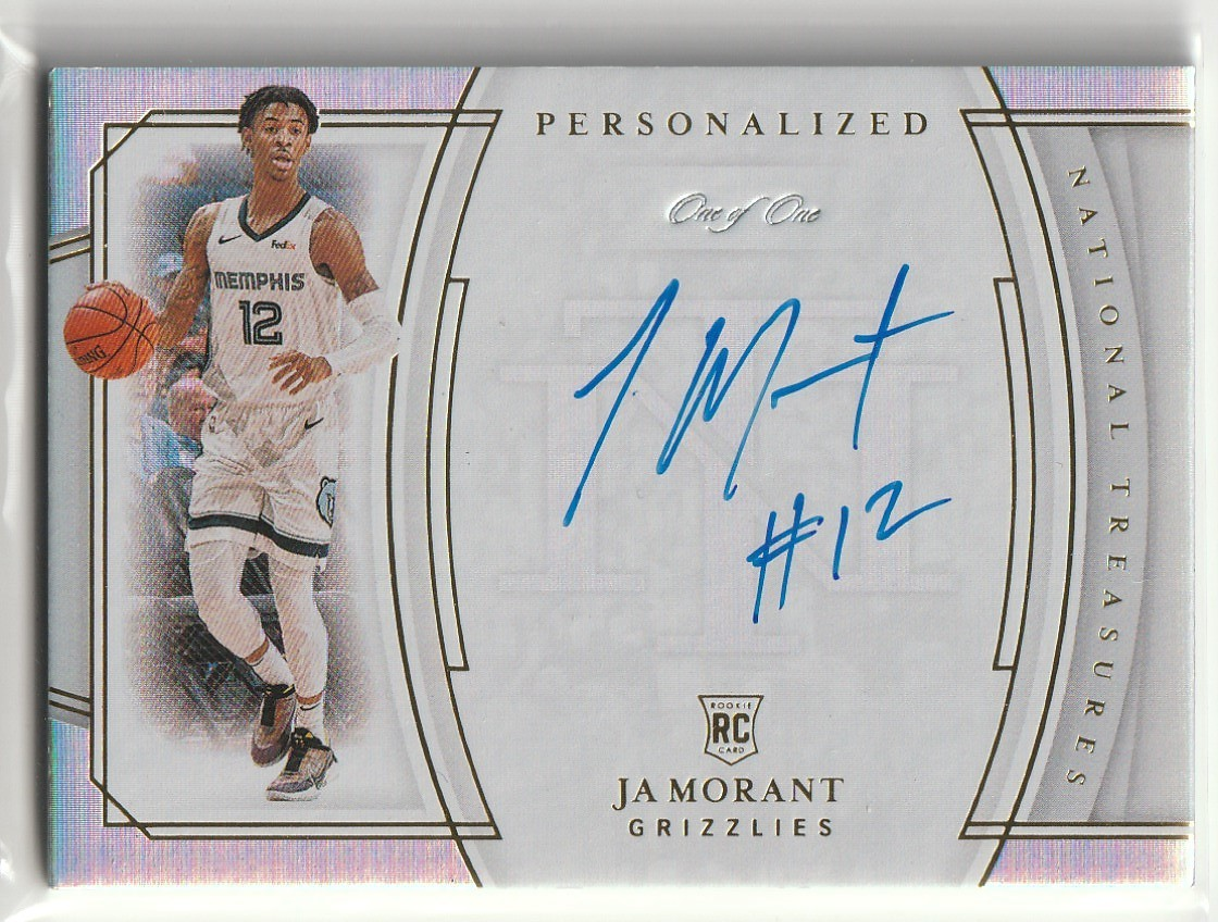 2019-20 PANINI NATIONAL TREASURES Ja Morant PERSONALIZED ROOKIE AUTO INSCRIPTIONS 直筆サインカード #1/1 RC 1of1 GRIZZLIES_画像1