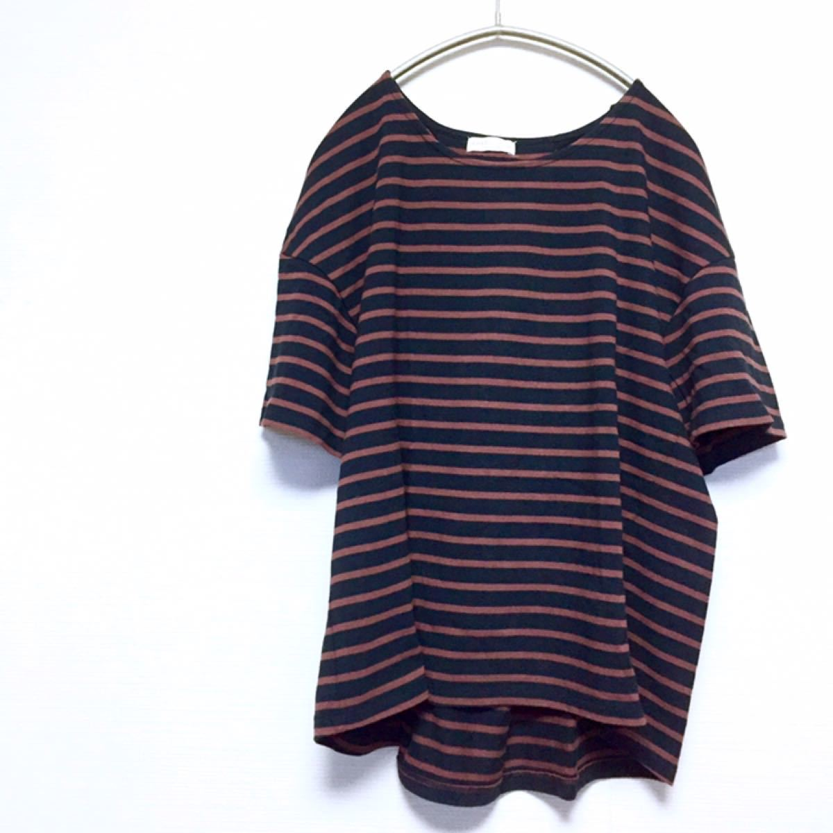 earth 後ろレースアップ☆ボーダー Tシャツ カットソー