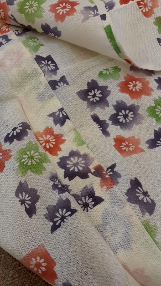 生地 浴衣 綿 刺繍 桜 白地 リメイク ハンドメイド