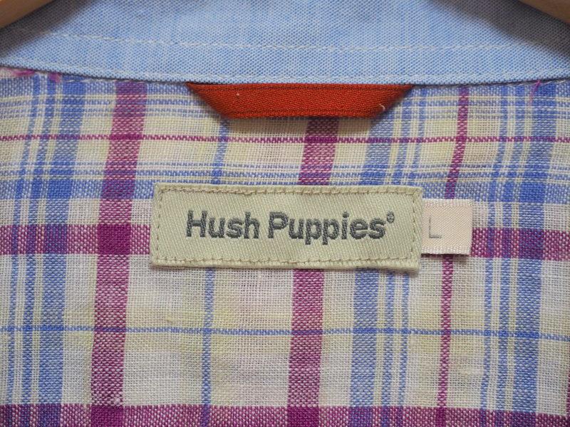 Hush Puppies ハッシュパピー リネンシャツ L ロゴ刺繍