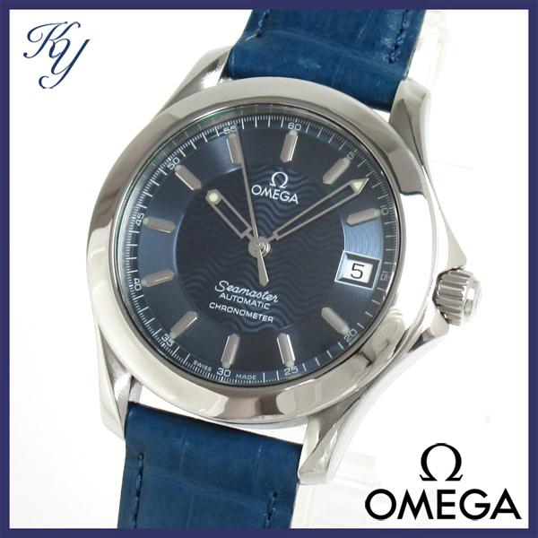 1円~ 3ヶ月保証付き 磨き済み 美品 本物 定番 人気 OMEGA オメガ シーマスター 120M 革ベルト 自動巻き ネイビー メンズ 時計