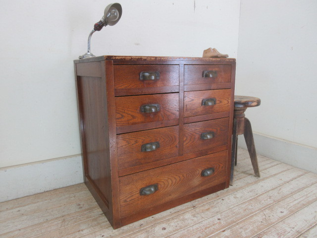 古い木味の7杯引き出しI324  アンティーク収納棚書類棚店舗什器カフェ什器古家具無垢材_画像1