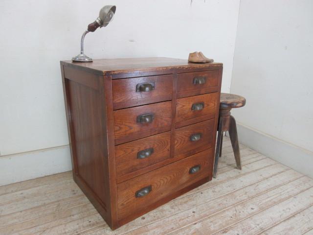 古い木味の7杯引き出しI324  アンティーク収納棚書類棚店舗什器カフェ什器古家具無垢材_画像10