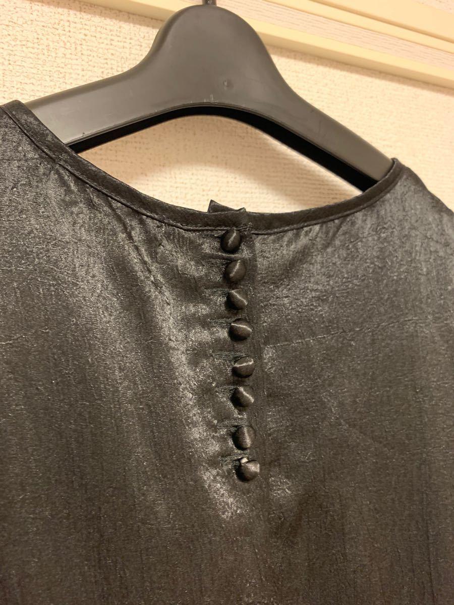 黒 裾フリル ミニワンピース
