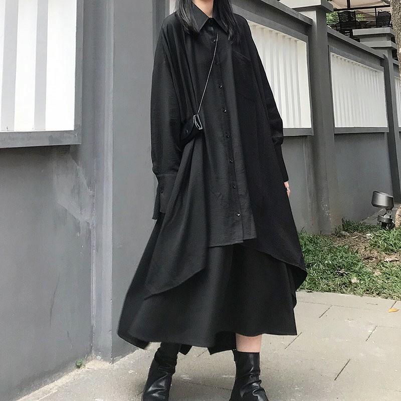 アシンメトリー シャツ フレアスカート セットアップ 2点セット 】