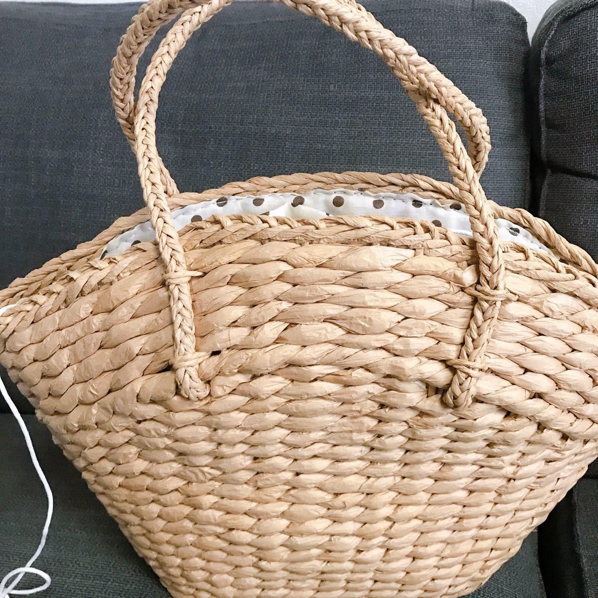 かごバッグ カゴバッグ 編み 内布手提げバック カバン 新品
