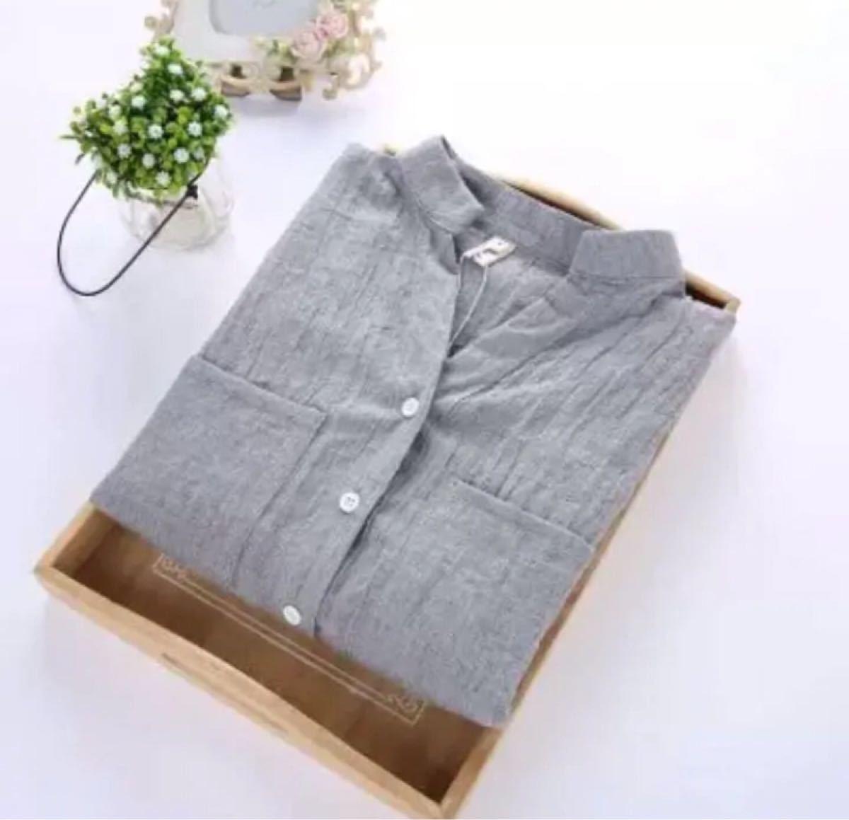 シャツTシャツ (グレー)ブラウス トップス チュニック ブラウス 無地 綿麻風