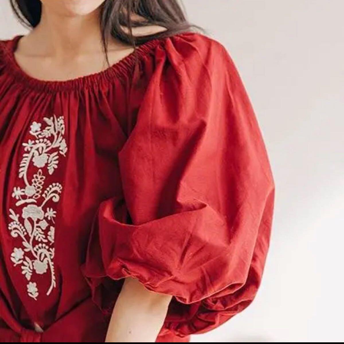 オフショルトップス  バルーン袖 刺繍 ブラウス トップス レディース ワイン