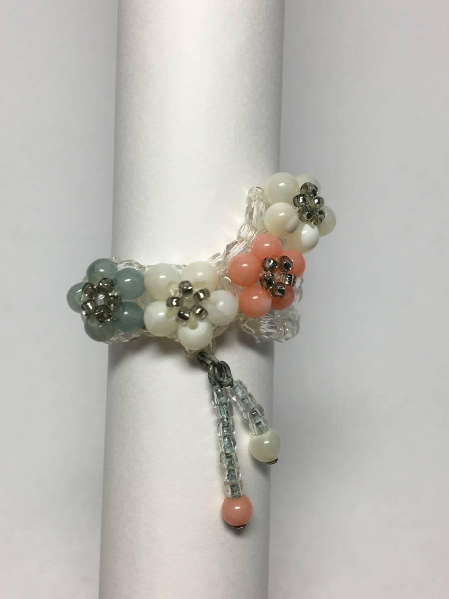 ゆらゆら♪天然石(マザーオブパール、珊瑚、キャッツアイ)のリング