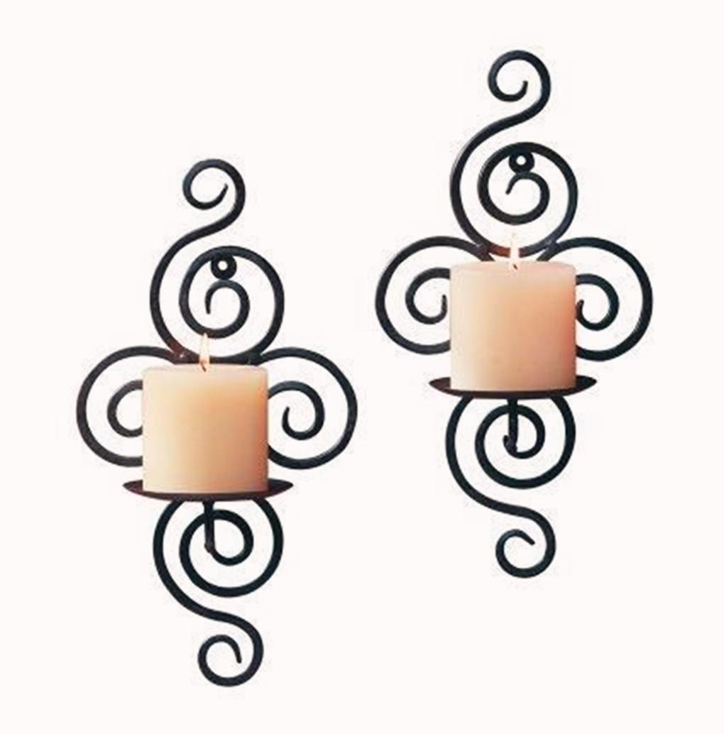 アイアンスクロールキャンドルホルダーローソク足壁掛け壁取り付け用燭台結婚式の家の装飾 _画像8