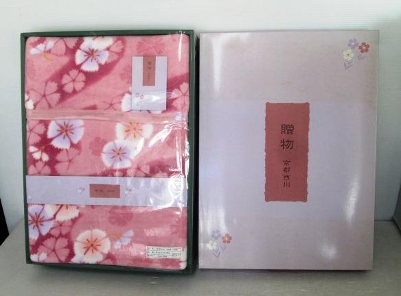 【未使用品】 ★ 京都西川 ★ 「贈物」 マイクロファイバー毛布 ピンク (サイズ:140 cm × 200 cm)