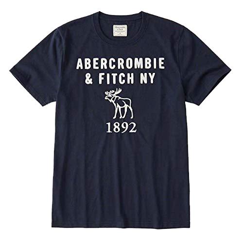 アバクロンビー&フィッチ アバクロ A&F 半袖Tシャツ カットソー クルーネック アップリケ ロゴ 刺繍 ネイビー Sサイズ(USサイズ) 新品