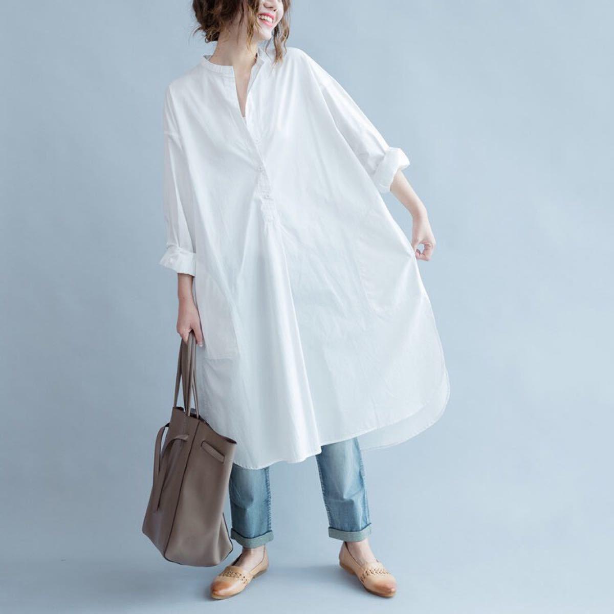 ロングシャツ ロングワンピース カジュアル シャツ ワンピース 秋服