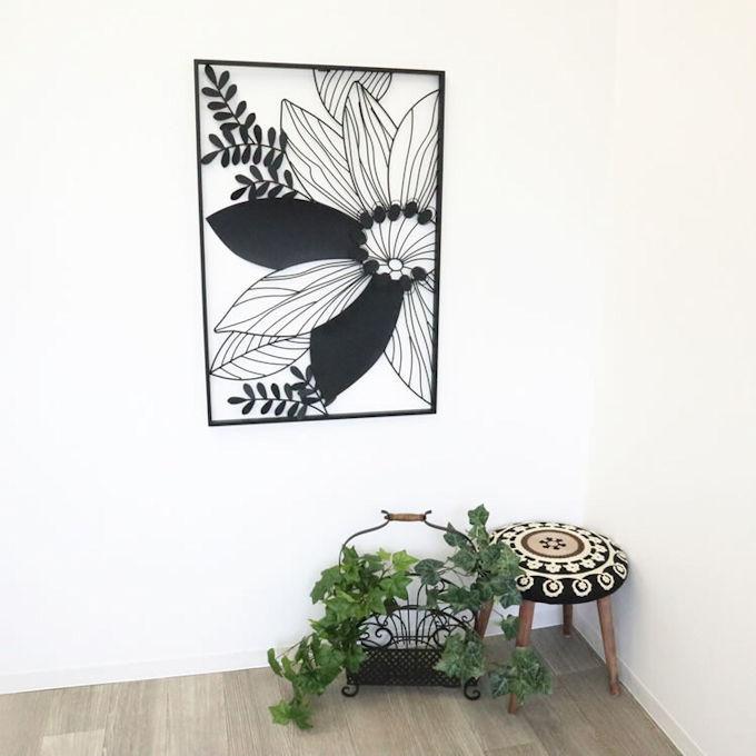 アイアンウォールアートパネル「フラワー」壁飾りインテリア壁掛け玄関ウォールデコモダン雑貨リビング(1094)_画像2