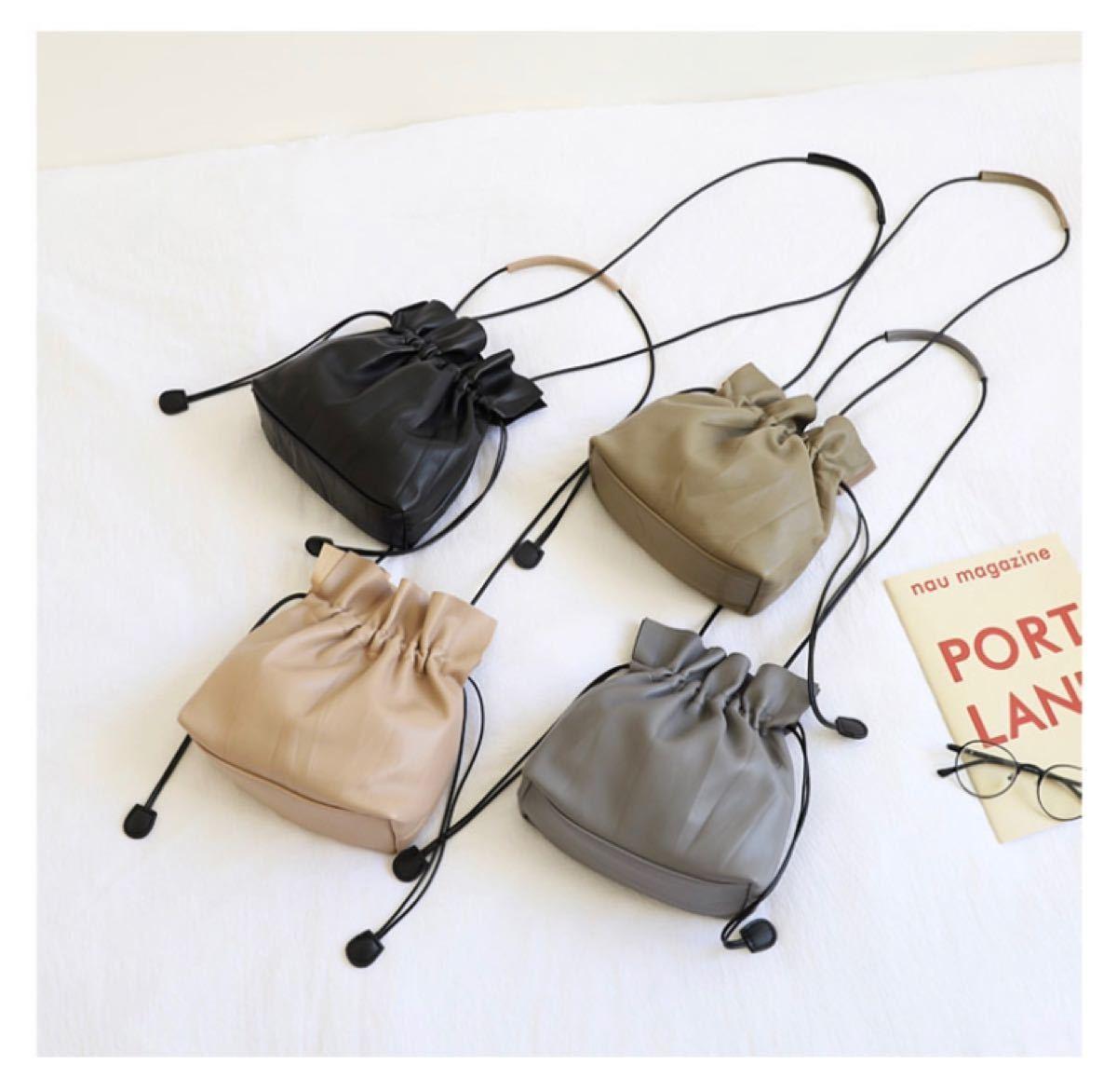 ショルダーバッグ 巾着バッグ カーキ ミニバッグ レザー調 2way 韓国 ミニ
