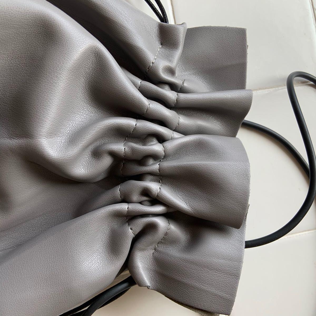 巾着バッグ 2way ショルダー ミニバッグ ポーチ 巾着 韓国 グレー レザー