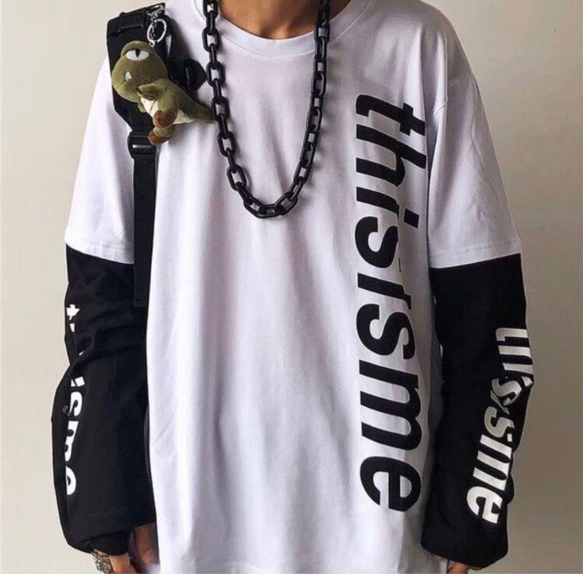 ロングTシャツ  重ね着風  新品未使用  大人気  男女兼用  ロゴTシャツ