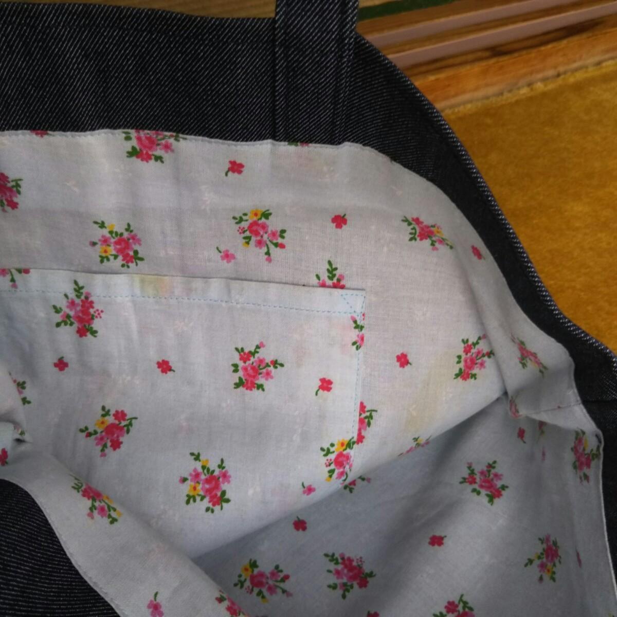 トートバッグ  デニム地  小花柄内布有り