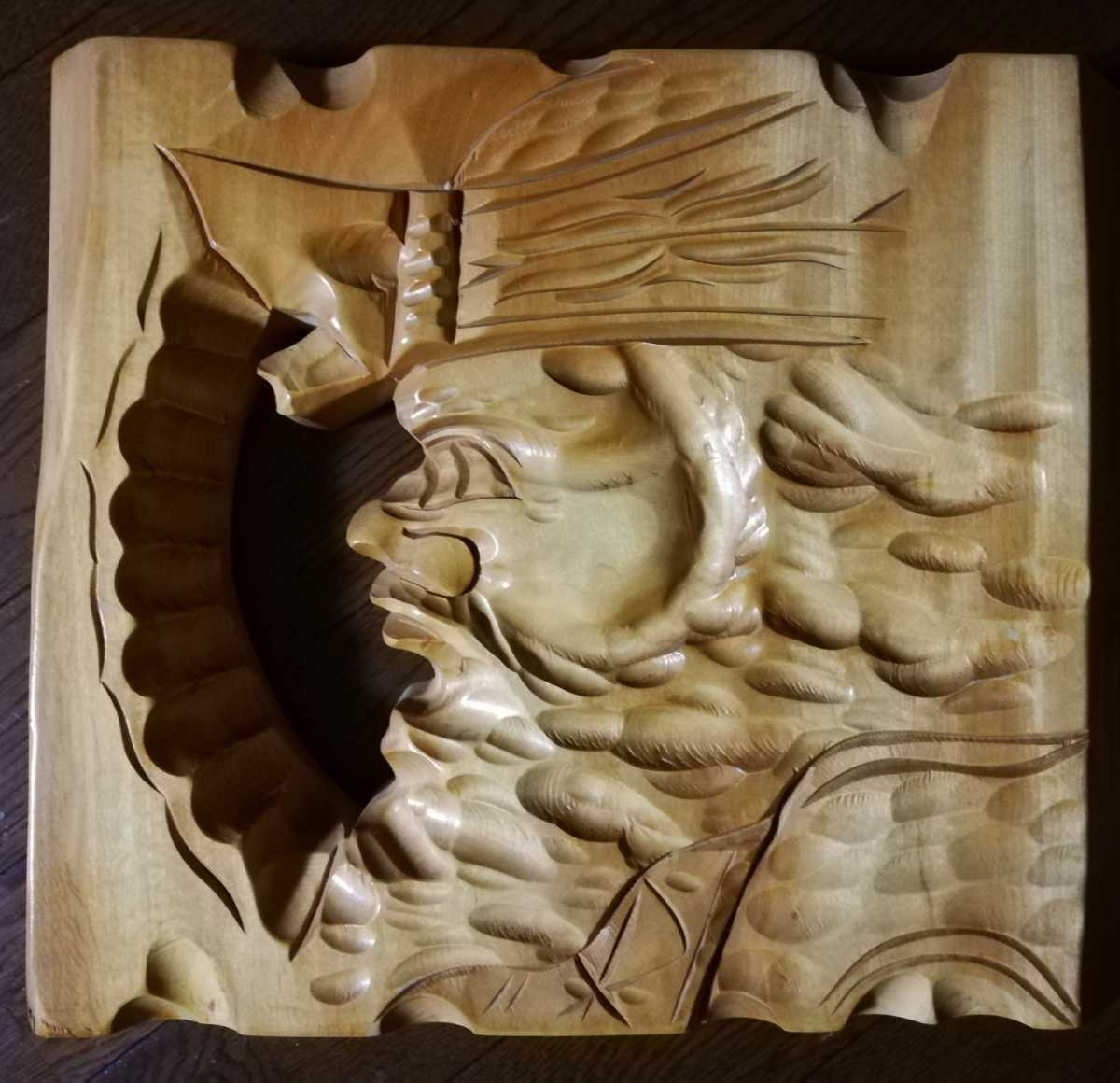 アイヌ 木彫り 壁掛け 木工 彫刻 レリーフ 工芸品 北海道民芸品_画像1