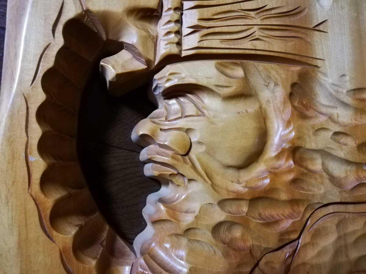 アイヌ 木彫り 壁掛け 木工 彫刻 レリーフ 工芸品 北海道民芸品_画像4