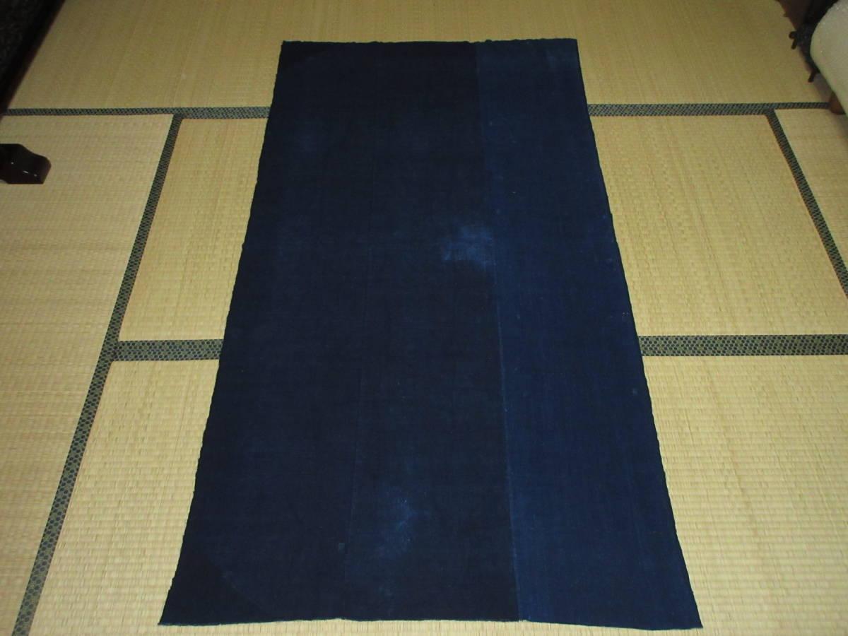【昔古布】※明治~大正期頃 厚手の 藍染手織木綿 襤褸BORO 3幅 (長187) ●継ぎ接ぎ・刺子・ボロリメイク●_表面になります