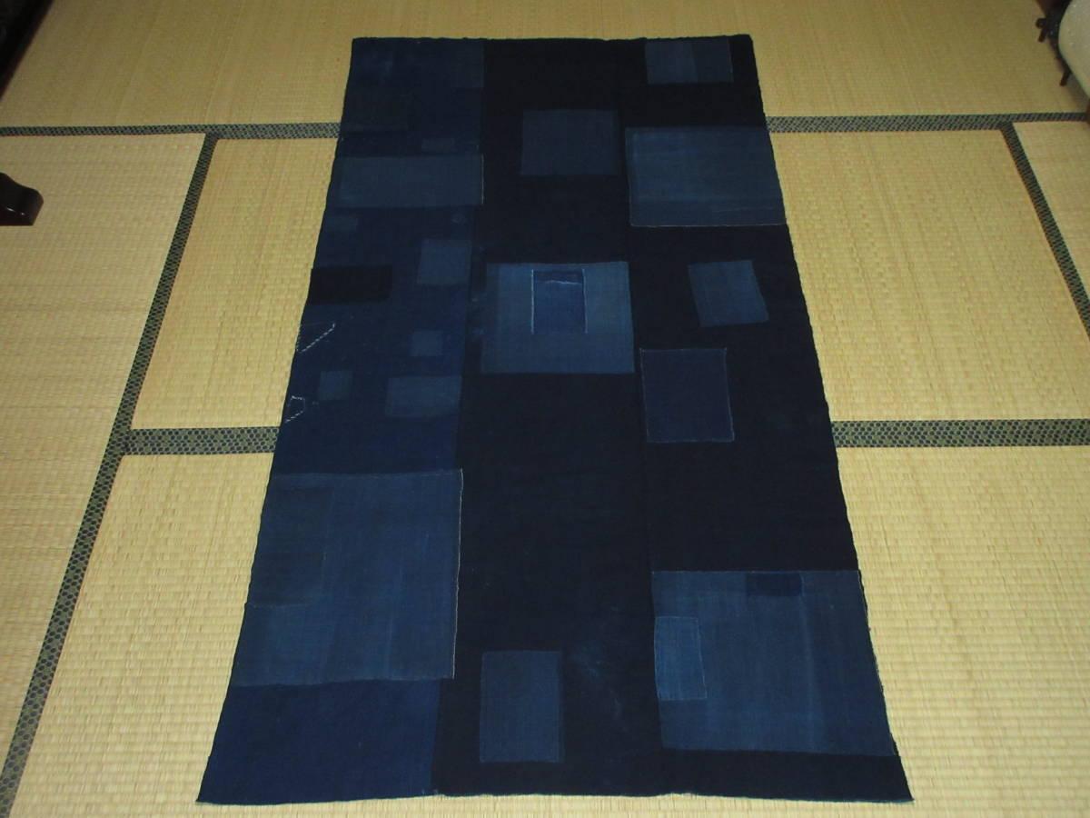 【昔古布】※明治~大正期頃 厚手の 藍染手織木綿 襤褸BORO 3幅 (長187) ●継ぎ接ぎ・刺子・ボロリメイク●_裏面になります
