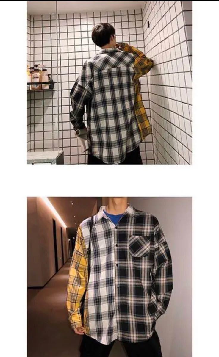 メンズ チェック 柄 デザイン ネルシャツ 長袖 カジュアル シャツ 韓国