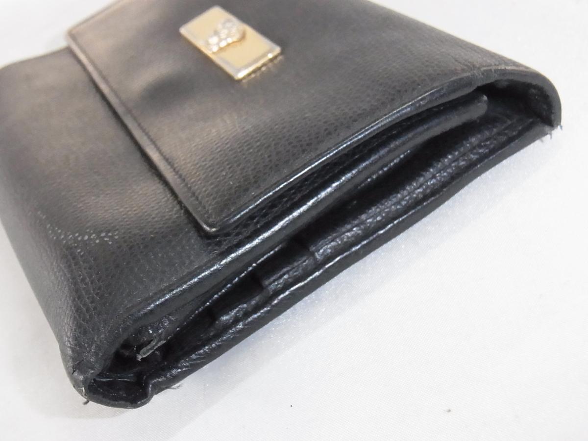 ヴェルサーチ VERSACE 三つ折りミドルサイズ長財布 メデューサ ブラック レザー 中古品_画像3